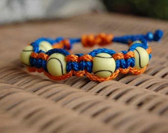 Royal Blue and Orange Bracelet with Tennis Beads