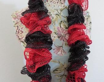 Black & Red Ruffle Scarf