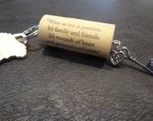 Shabby chic wine cork keychain, heart & key wine cork keychain