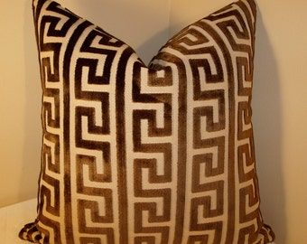 Both Sides ONE Greek Key Akis Walnut by Nate Berkus Pillow Cover with Knife Edge