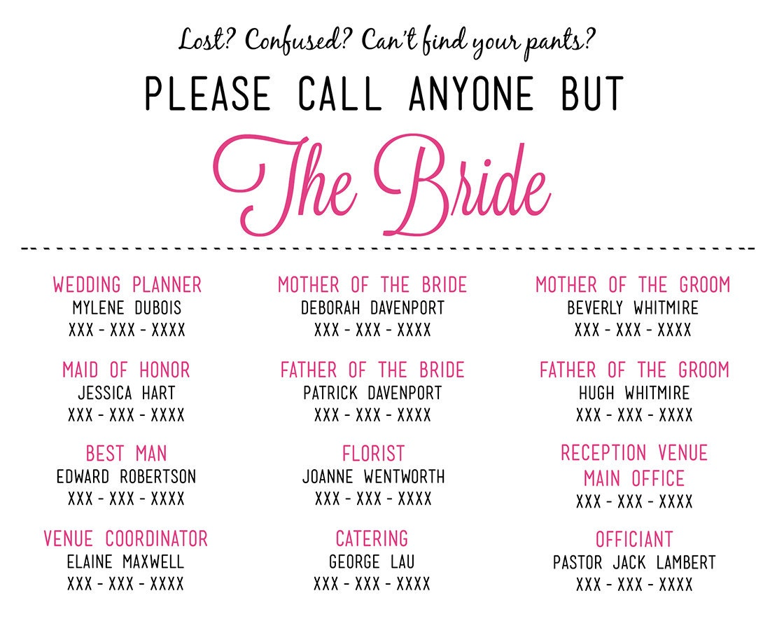 Please call anyone but the bride microsoft by for Bridal shower itinerary template