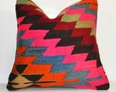 Pink and Orange Kilim pillow Turkish Colorful Pillow Vintage Cozy Home Decor  16x16 Vintage Bohemian Home Decor Kilim Cushion Cover - PillowsHistoric