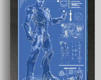 Iron Man Mark 4 Suit Blueprints 16x24