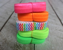 Neon Fold Over Elastic Bundle - Elastic For Baby Headbands and Hair Ties - 10 Total Yards of 5/8 inch FOE