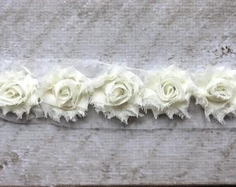 1/2 Yard Ivory Petite Shabby Chiffon Flower Trim - Flower Trim for Headbands and DIY supplies