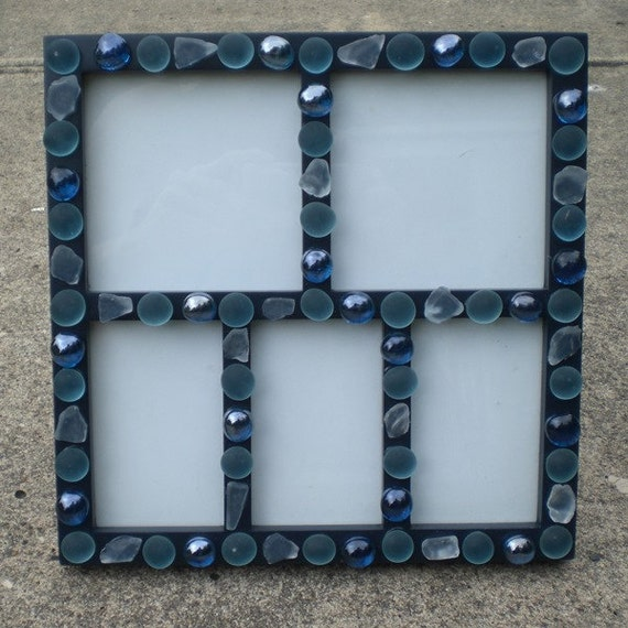 items similar to blue glass picture frame on etsy