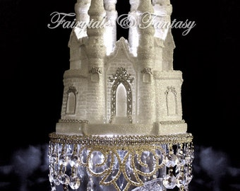 Cinderella Castle Cake Topper Wedding Fairytale with Swarovski