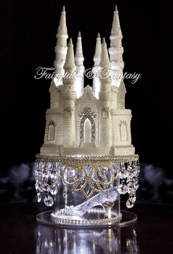 Glass Castle Wedding Cake Topper