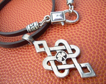 Irish Celtic Knot Pendant Leather Necklace Jewelry Clover Flat Black Cord