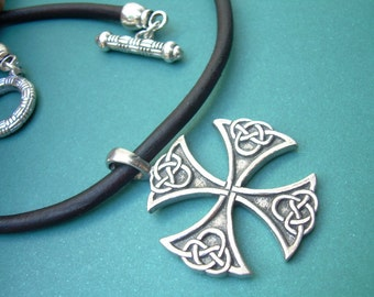 Leather Necklace, Celtic  Cross, Mens Necklace, Mens Jewelry, Mens Gift, Cross Pendant,