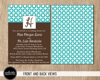 Monogram Wedding Shower Invitation - Patterned, Custom Colors