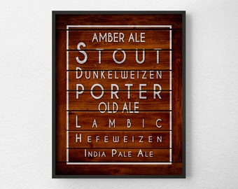 Beer Kitchen Print, Kitchen Wall Decor, Kitchen Wall Art, Typography Poster, Wall Art, Beer Print, Kitchen Quote Art, Restaurant Art, 0306