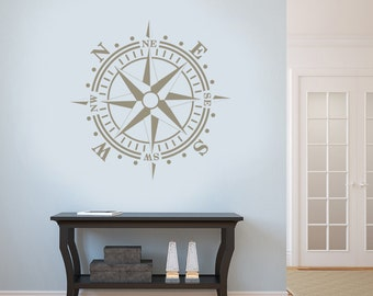 Metalic Compass Rose Gold Silver or Copper Removable Wall Art Vinyl Dinning Room Decal Nautical Theme Living Room up to 20x20 inches