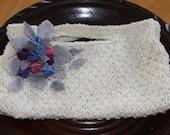 handbag in handspun yarn with hand painted felt applique
