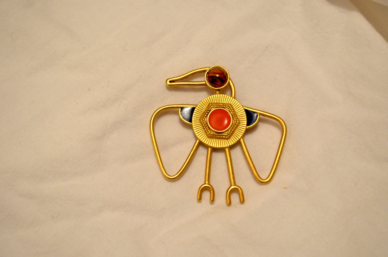 Vintage Unique Ancient Egyptian Horus pin bird/hawk/eagle