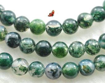 Natural moss agate smooth round beads 4mm,93 pcs
