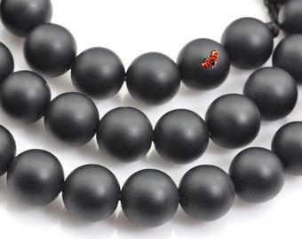 Black Onyx Matte Round beads 8mm,48 pcs