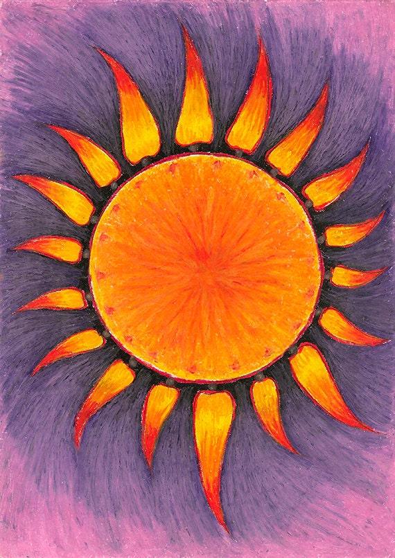 Items similar to Original Drawing - Abstract Pastel Sun ...