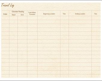 Travel Log / Mileage / Printable / Instant Download