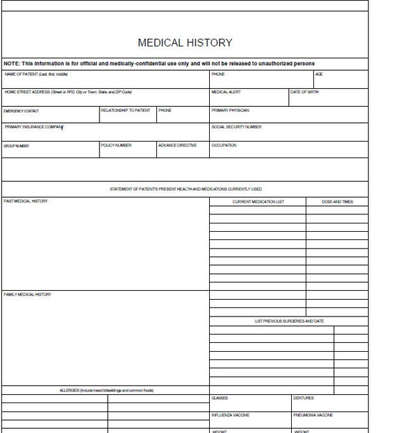 Medical History Forms Medical History Form Zoom Fillable Medical
