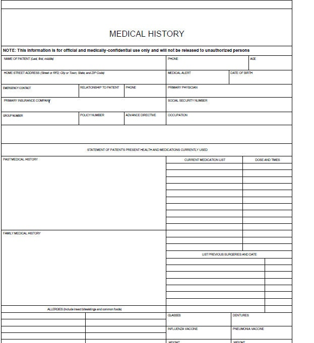 Fillable Medical History Log / Pdf/ Digital Health Forms/