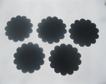 Chalkboard Cardstock Scallop Circle Tags Set of 30