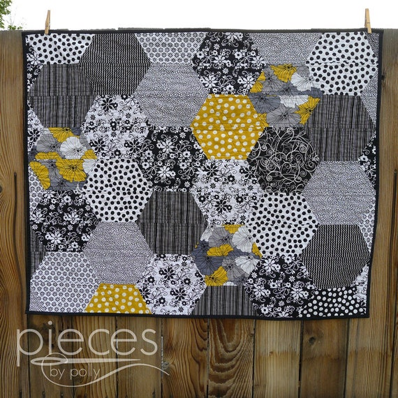 Modern Black and Gold Hexies Baby Quilt