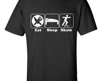 Eat Sleep Skate T-shirt Funny Skater Stoner Punk Pool Teen Pro
