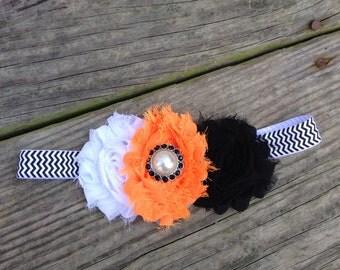 SALE Halloween Headband, chevron headband, baby headband, newborn headband, orange shabby headband