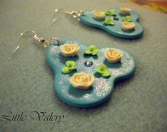 Three roses earrings