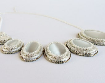 Modern Asymmetrical Bead Emboidered Bridal Bib Necklace in White and Silver