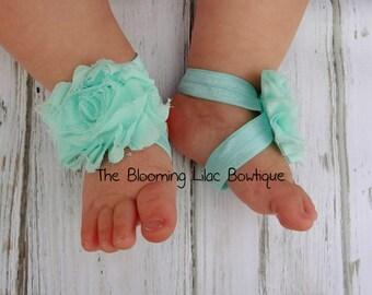 Aqua Baby Barefoot Sandals - Newborn Clothing - Baby Girl - Shabby Chic - Photo Prop - Toddler Sandals - Baby Barefeet