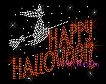 Happy Halloween - Witch - Iron on Rhinestone Transfer - Bling Hot Fix Holiday - DIY
