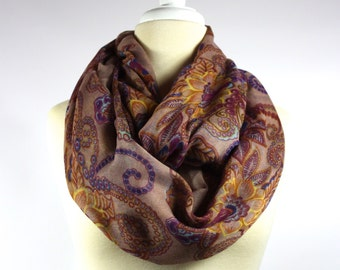Paisley  infinity scarf , fall loop scarf , chunky scarf, oversized floral scarf in Brown Blue