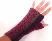 Lace Crochet Fingerless Gloves - Strawberry Jam