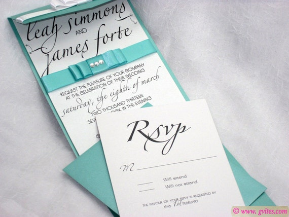 Tiffany Wedding Invitations - Tiffany Pocket Fold Wedding Invitation - Tiffany Blue Pocket Invitation, Response Card and Enclosure Card