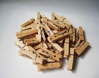 50pcs - 3.5cm Wooden Clip / Cloth Pin - Natural Wood Color *WC002*