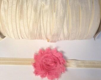 Ivory Fold Over Elastic by the yard, elastic for baby headbands, 5/8 inch FOE, soft ivory elastic