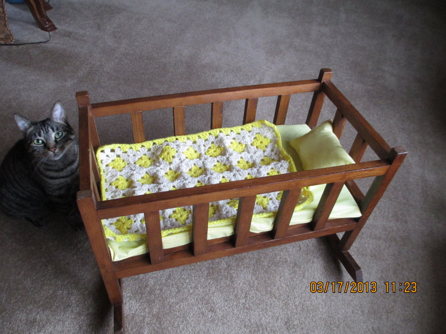 Vintage Baby Doll Cradle Bed With New Bedding By