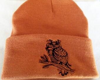 BLack line Work Owl Winter Beanie Hat Wiccan