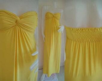 Yellow Strapless  sun beach Long maxi dress all size
