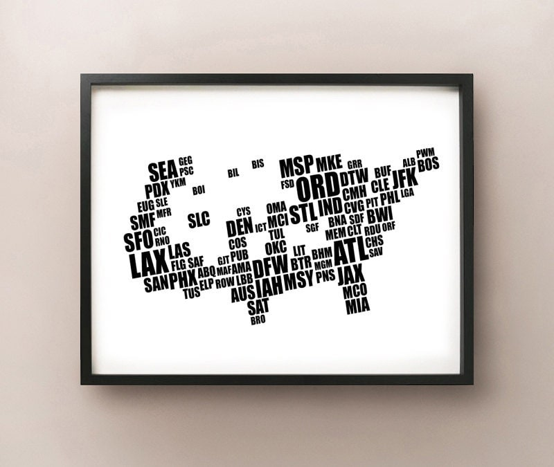 United States Airport Code Typography Map - Us map with airport codes