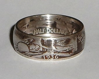 Coin Ring made from1936 US silver half dollar size  9,10,11,12