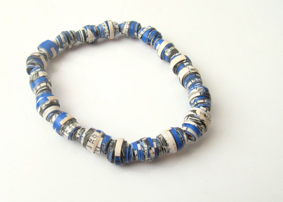 Blue bracelet: handmade, upcycled comic book, blue and white paper beads bracelet, eco friendly jewellery