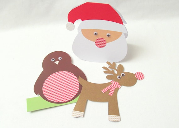 3 handmade Christmas Cards: Rudolph, Santa and robin gingham detail cards. Handcrafted in the UK. Can be personalised.