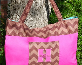 Chevron Tote With Appliquéd Monogram and Embroidered Name