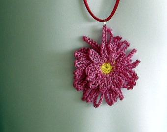 crochet flower pendant pink