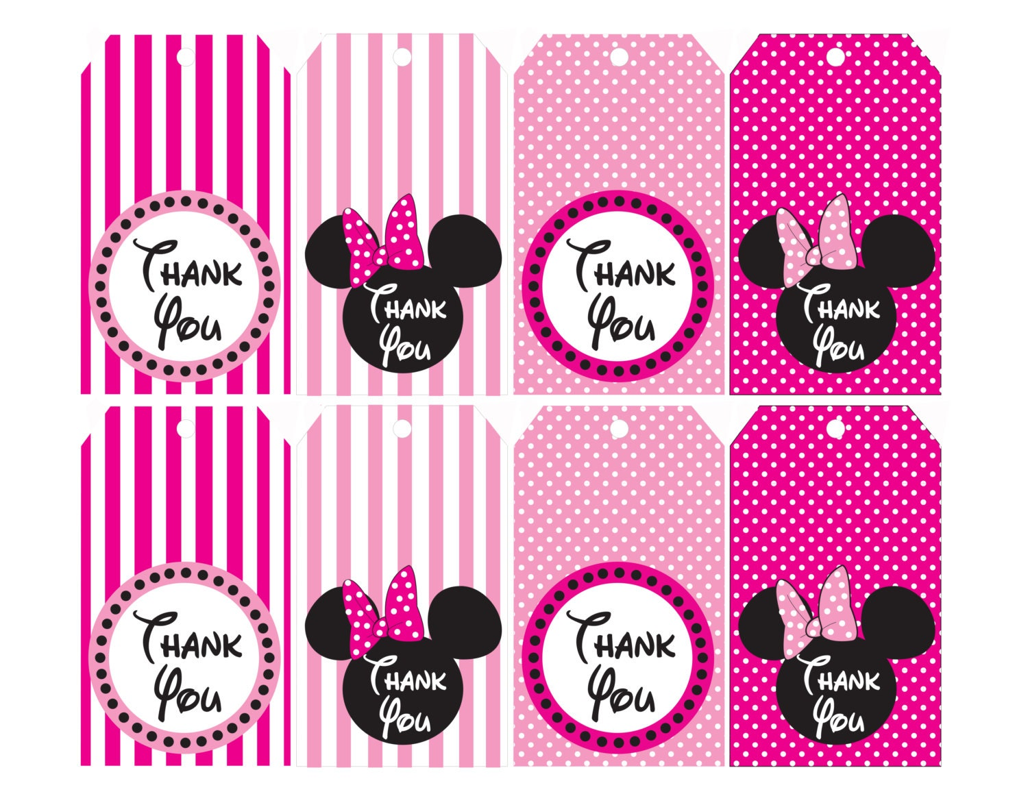 Minnie Mouse Pink Thank You Tags Instant By