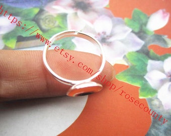wholesale 100pcs Bright Silver Round Trays 10mm bezel ring blank findings--semicircle