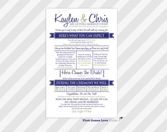 "PRINTABLE Wedding Program ~ ""The Kaylen"" ~ One Side Only ~ Fun Wording ~ Playful Program ~ Choose ANY Colors ~ 5.5 x 8.5 size"